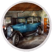 Car - Granpa's Garage  Round Beach Towel by Mike Savad