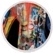 Car Of Many Colors Round Beach Towel