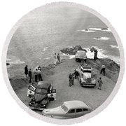 Car Over Edge On Highway One  Big Sur  California    March 27 1947 Round Beach Towel