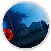 Car Reflection 8 Round Beach Towel