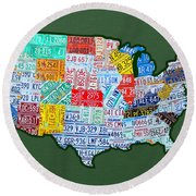 Car Tag Number Plate Art Usa On Green Round Beach Towel