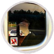 Car Window Reflection Round Beach Towel