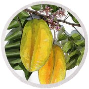 Carambolas Starfruit Two Up Round Beach Towel