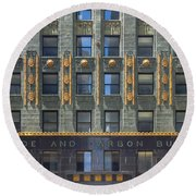Carbide And Carbon Building Round Beach Towel by Adam Romanowicz