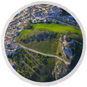 Carcabuey Castle From The Air Round Beach Towel