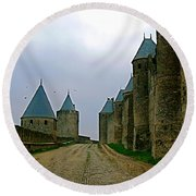 Carcassonne Walls Round Beach Towel by France  Art