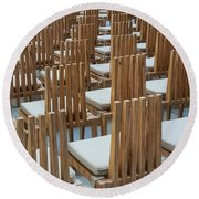 Cardboard Cathedral Chairs Round Beach Towel