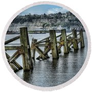 Cardiff Bay Old Jetty Supports Round Beach Towel