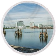 Cardiff Bay Towards St Davids Hotel Long Exposure Round Beach Towel