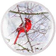 Cardinal Christmas-2014 Round Beach Towel