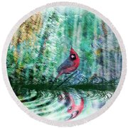 Cardinal - Featured In Comfortable Art-wildlife-and Nature Wildlife Groups Round Beach Towel
