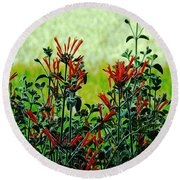 Cardinal Flowers Round Beach Towel