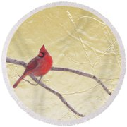 Cardinal In Gold Leaf Round Beach Towel