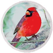 Cardinal In Ice Tree Round Beach Towel