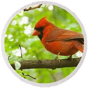 Cardinal In Red Round Beach Towel