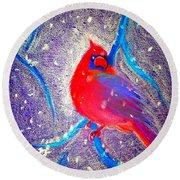 Cardinal In Snow Round Beach Towel