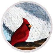 Cardinal In The Dogpound Round Beach Towel
