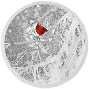 Cardinal In Winter Round Beach Towel by Ellen Henneke