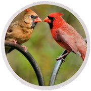 Cardinal Love Round Beach Towel