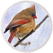 Cardinal On An Icy Twig - Digital Paint Round Beach Towel