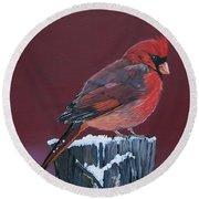 Cardinal Winter Songbird Round Beach Towel
