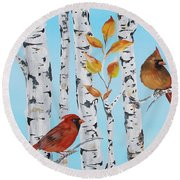 Cardinals Among The Birch-d Round Beach Towel