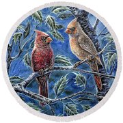 Cardinals And Holly Round Beach Towel