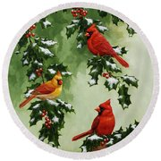 Cardinals And Holly - Version With Snow Round Beach Towel by Crista Forest