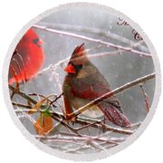 Cardinals - Male And Female - Img_003card Round Beach Towel