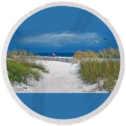 Carefree Days By The Sea Round Beach Towel