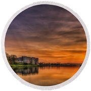 Carew Castle Sunset 1 Round Beach Towel