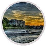 Carew Castle Sunset 3 Round Beach Towel