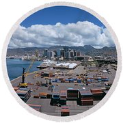 Cargo Containers At A Harbor, Honolulu Round Beach Towel