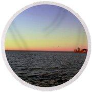 Cargo Ship @ Chesapeake Bay Bridge Tunnel Round Beach Towel