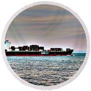 Cargo Ship Near Chesapeake Bay Bridge Tunnel Round Beach Towel