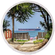 Cargo Ship On Chesapeake Bay Round Beach Towel