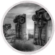Carhenge Automobile Art 3 Round Beach Towel
