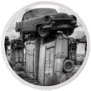 Carhenge Automobile Art 4 Round Beach Towel
