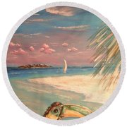 Caribbean Afternoon Round Beach Towel by The Beach  Dreamer
