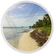 Caribbean Beach In Ambergris Caye Belize Round Beach Towel