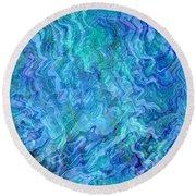Caribbean Blue Abstract Round Beach Towel