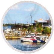 Caribbean - Dock At King's Wharf Bermuda Round Beach Towel