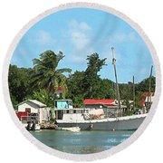Caribbean - Docked Boats At Antigua Round Beach Towel