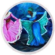 Caribbean Folk Dancers Round Beach Towel