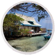 Caribbean House And Boat Round Beach Towel
