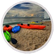 Caribbean Kayaks Round Beach Towel