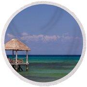 Caribbean Pier Round Beach Towel
