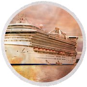 Caribbean Princess In A Different Light Round Beach Towel by Betsy Knapp