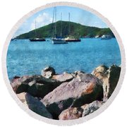 Caribbean - Rocky Shore St. Thomas Round Beach Towel