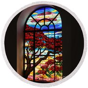 Caribbean Stained Glass  Round Beach Towel